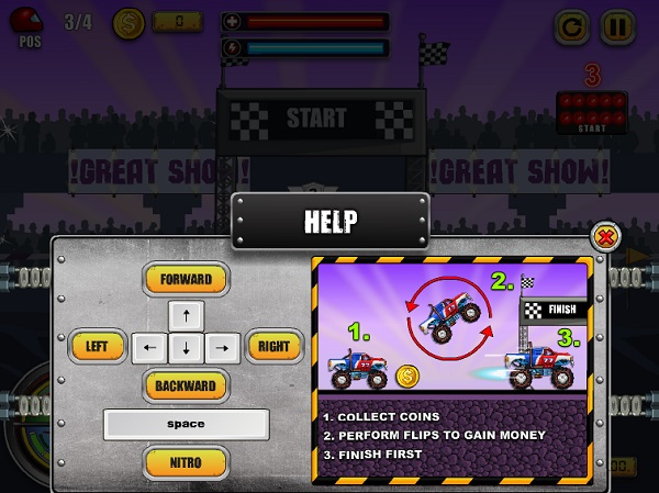 game Dua xe quai vat monster wheels online