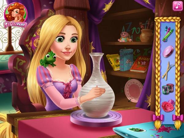 game Rapunzel lam do thu cong cam hoa nghe thuat