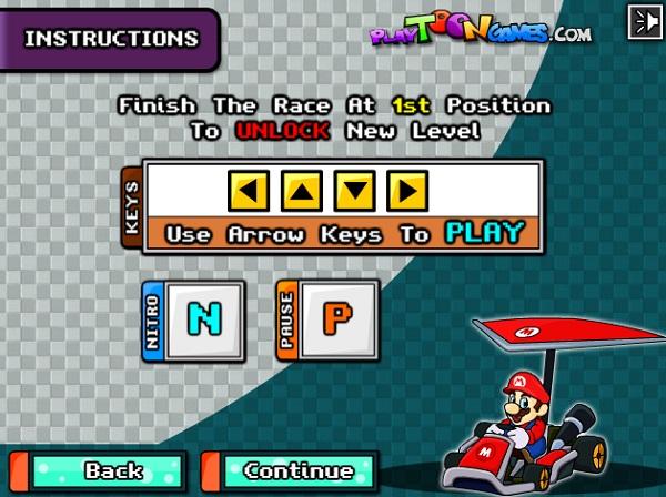 game Dua xe may bay Mario tren khong