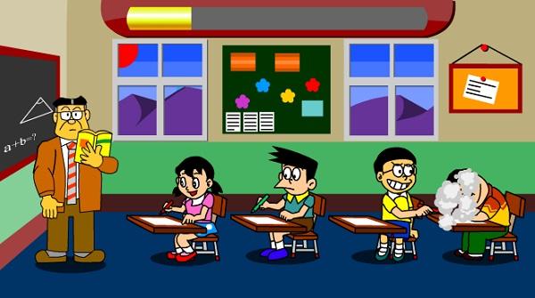 game Doremon va Nobita tra thu Chaien trong lop hoc