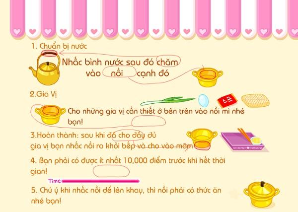 game Nau mi tom trung cung sue