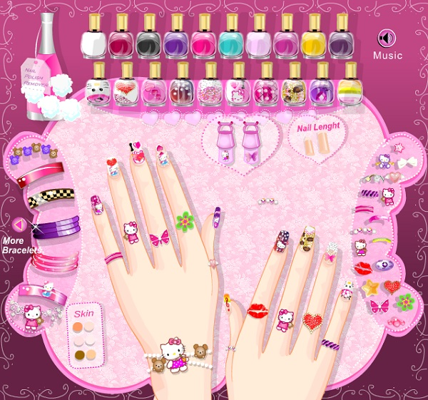 game Lam mong tay hello kitty nail online