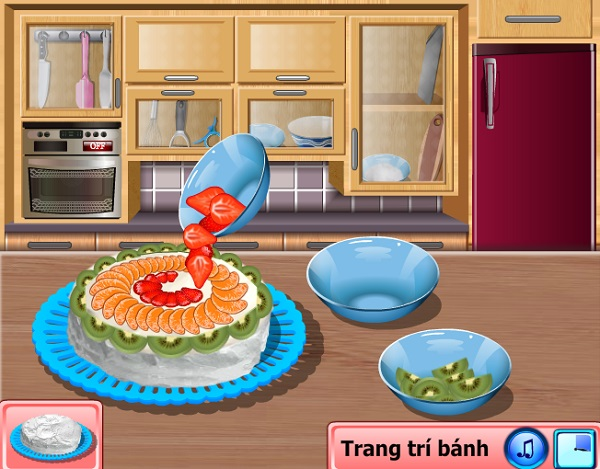 game nau an hoc lam banh kem bang trai cay tuoi