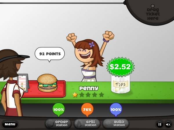 game Cua hang ban banh hamburger cua Papa