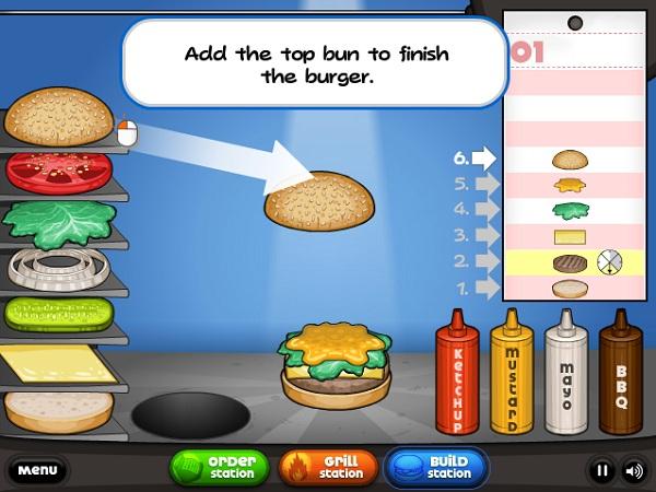 game Cua hang hamburger cua Papa dong khach