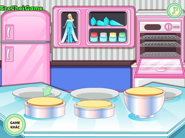 game Lam banh kem nu hoang bang gia Elsa