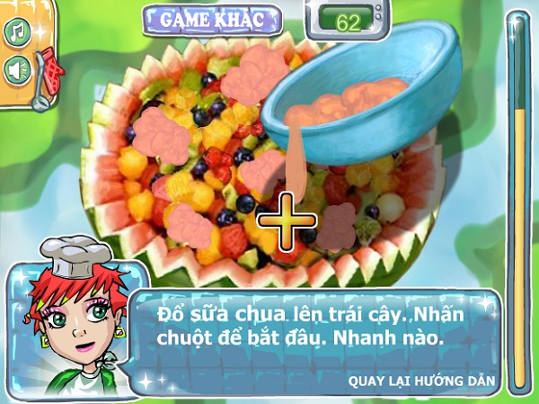 game Lam sua chua trai cay socola mit dau