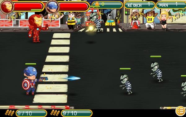 game Avengers vs Zombies 2 nguoi choi
