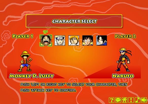 game Naruto danh nhau voi sasuke songoku ichigo luffy