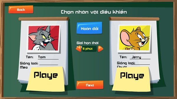 game Tom va Jerry doi dau 2 nguoi choi