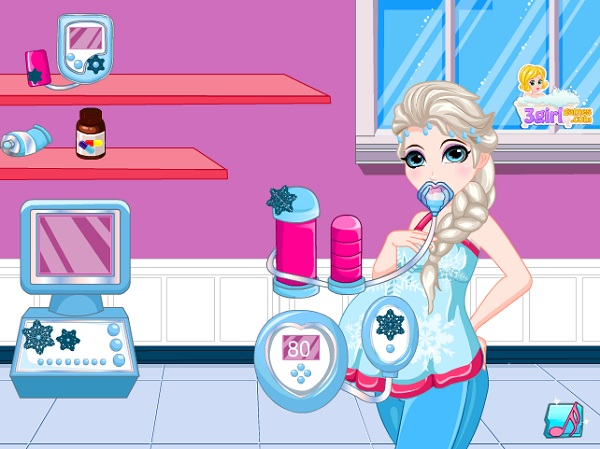game Cham soc ba bau Elsa 24h y8