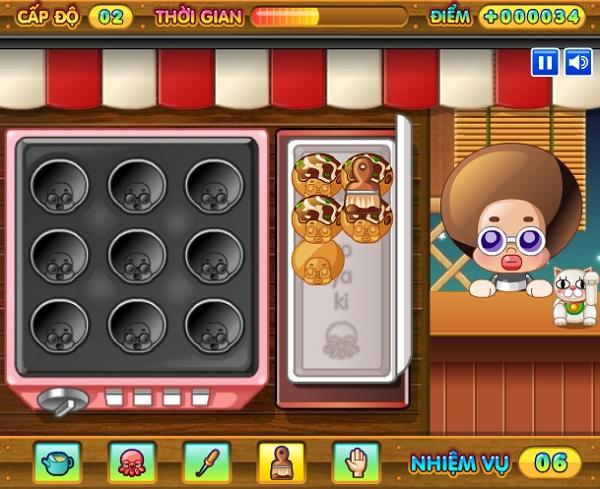 game Lam banh nuong bach tuoc Takoyaki