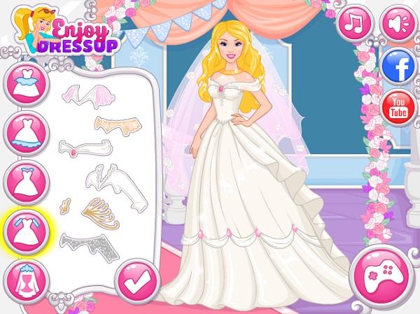 game Thiet ke vay cuoi cho bup be Barbie