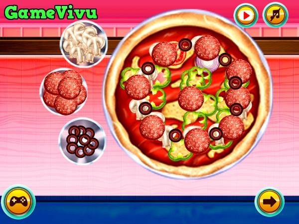 game Lam banh pizza xuc xich hinh anh 3