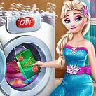 Công chúa Elsa giặt quần áo