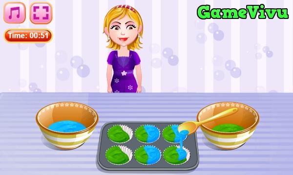 game Làm bánh cupcake bông hoa hình ảnh 1